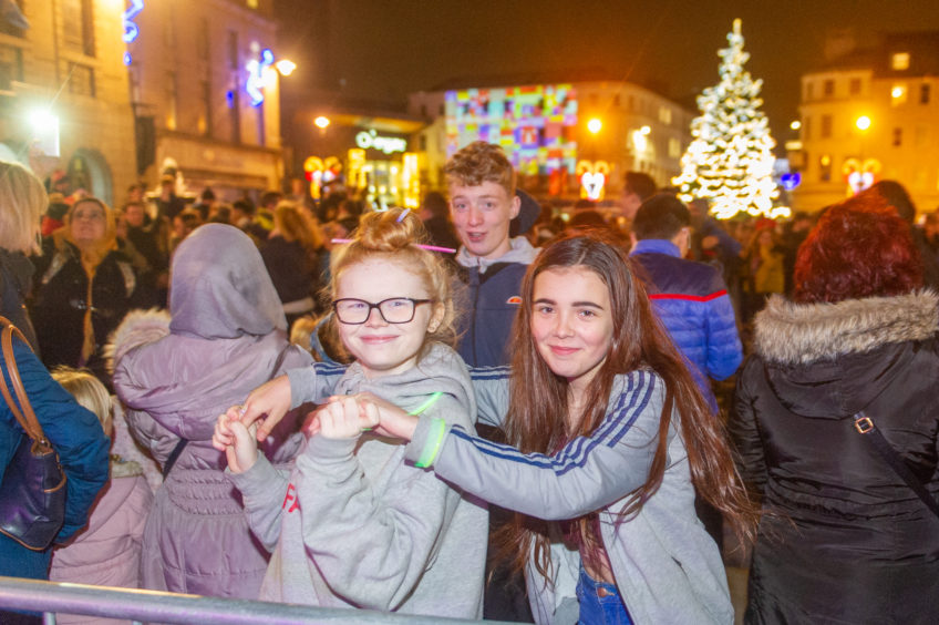 Crowds at the Dundee lights switch-on.