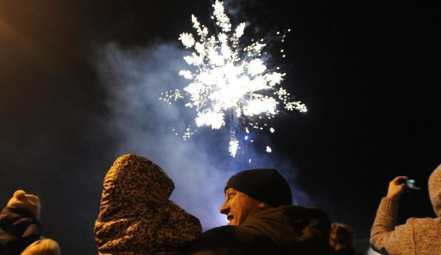 Fireworks in the air in Comrie.