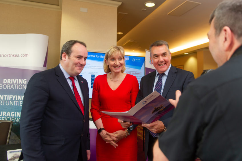 l to r - Paul Wheelhouse MSP Minister for Energy, Connectivity and the Islands, Deirdre Michie (Chief Executive Oil & Gas UK) and John Warrender (Chief Executive Decom North Sea),