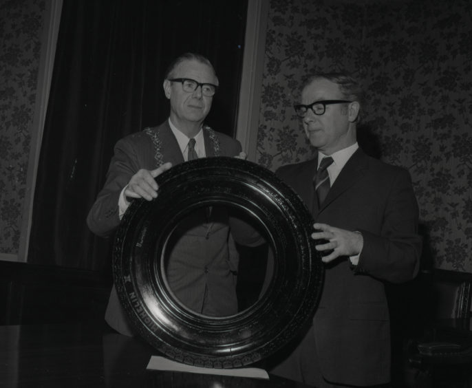 The first tyre produced at Michelin Dundee in 1972.