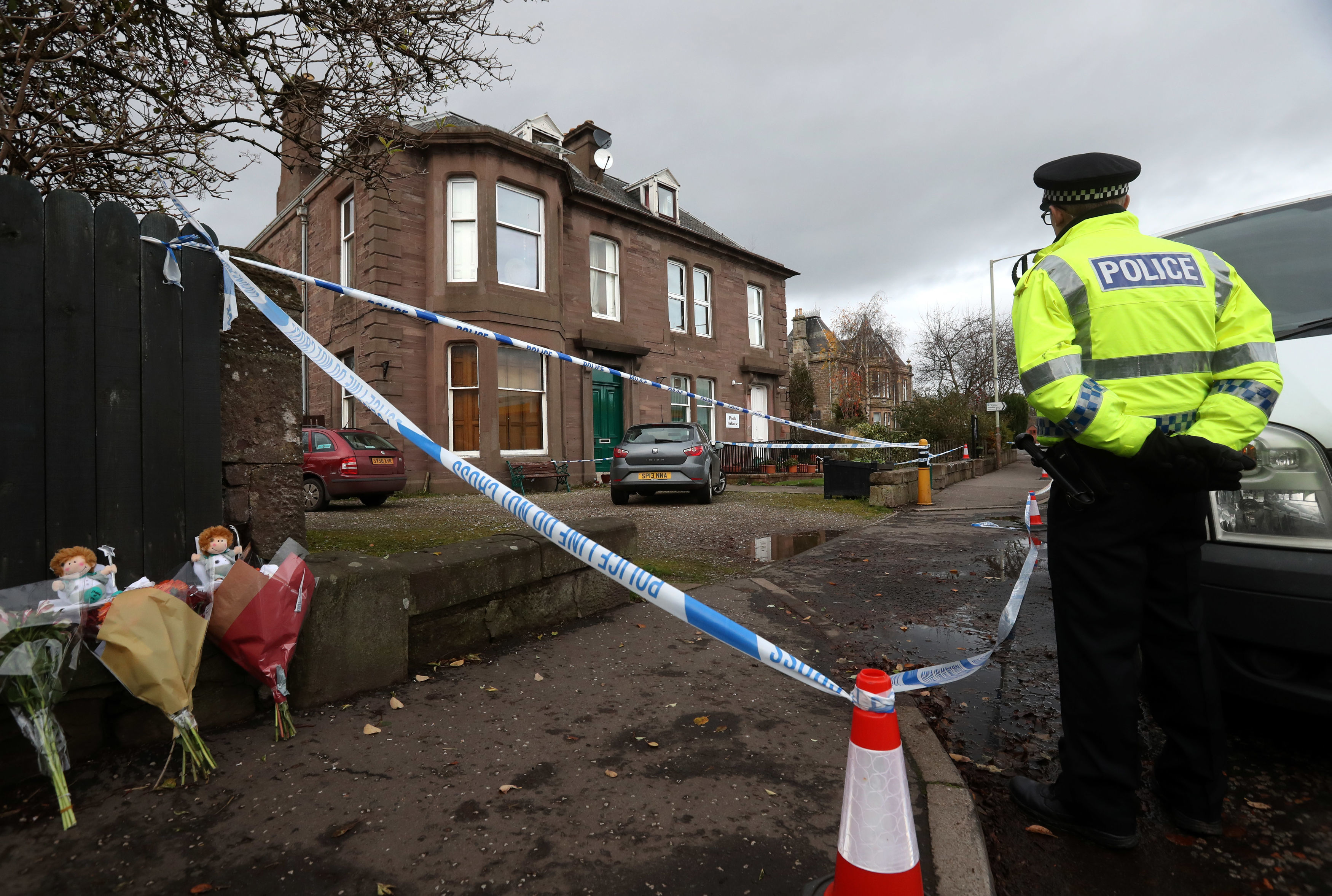Police at the scene in Coupar Angus.