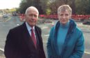 Willie Wilson and Liz Barrett campaigning against disruption from the traffic lights