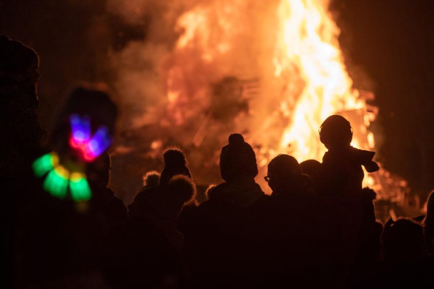The bonfire at South Inch, Perth.