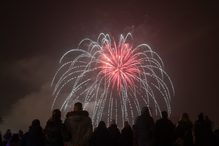 The fireworks at South Inch, Perth.