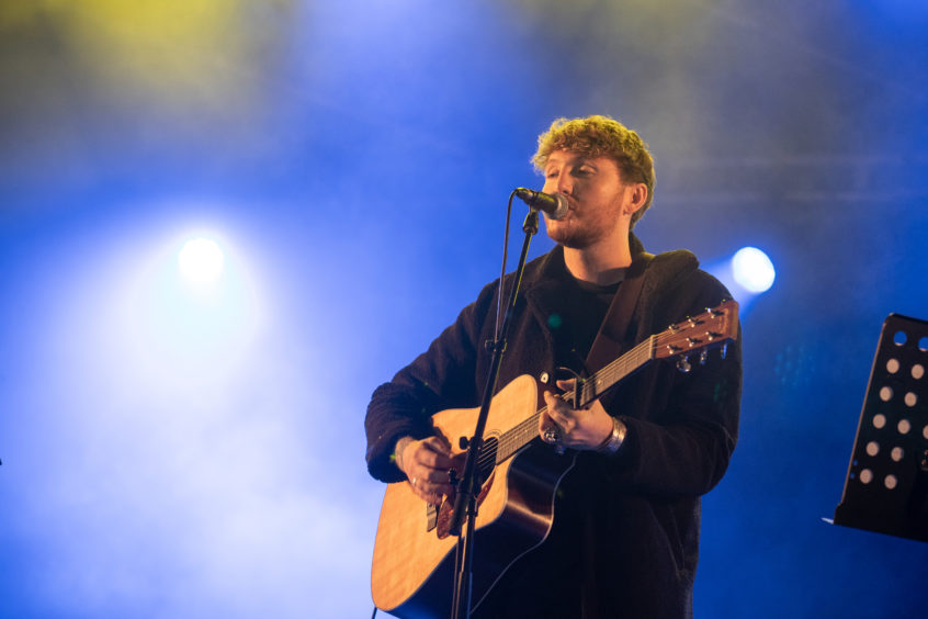 James Arthur on stage for the Perth Christmas lights switch-on.
