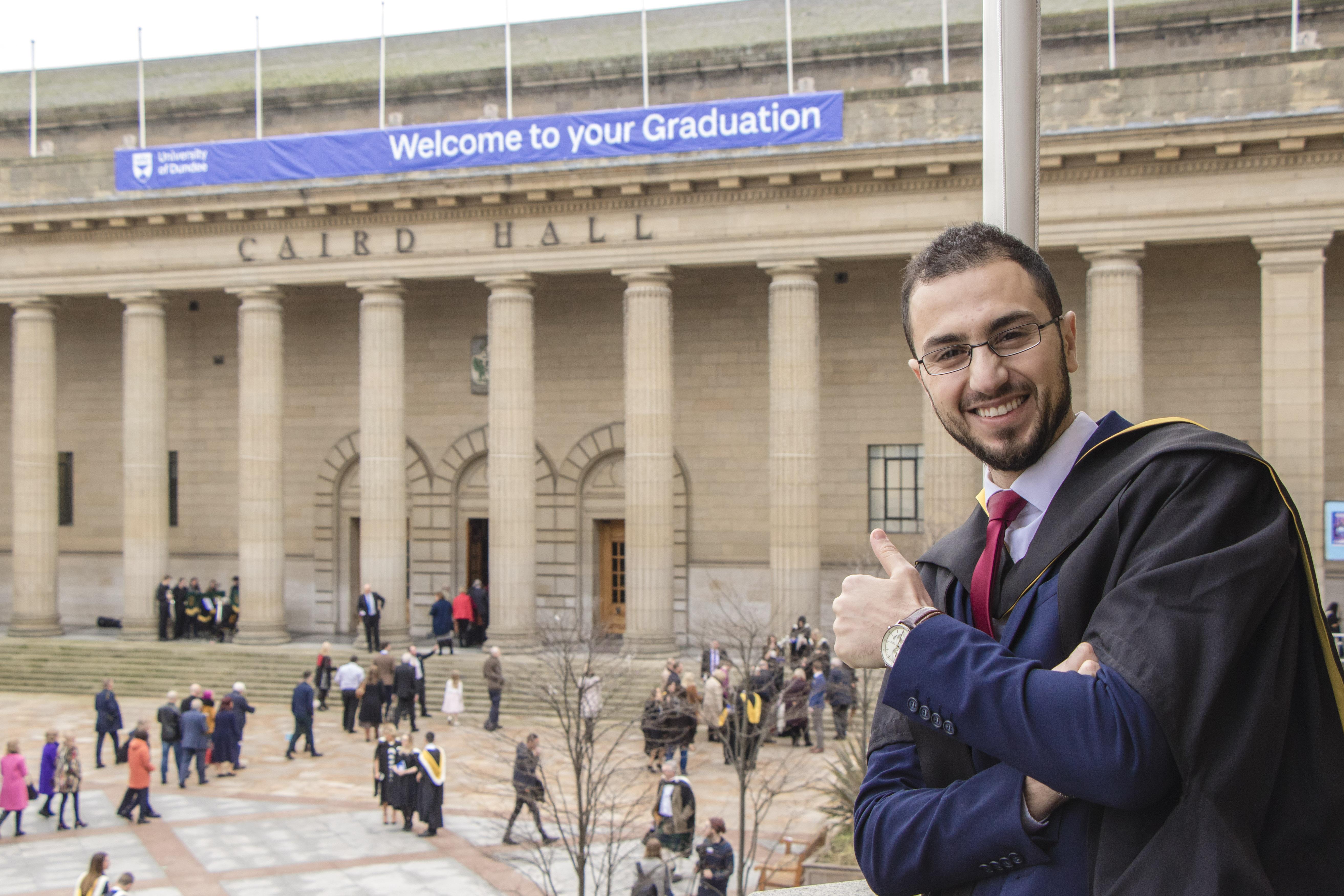 Rawad Qaq celebrates his graduation day in Dundee.
