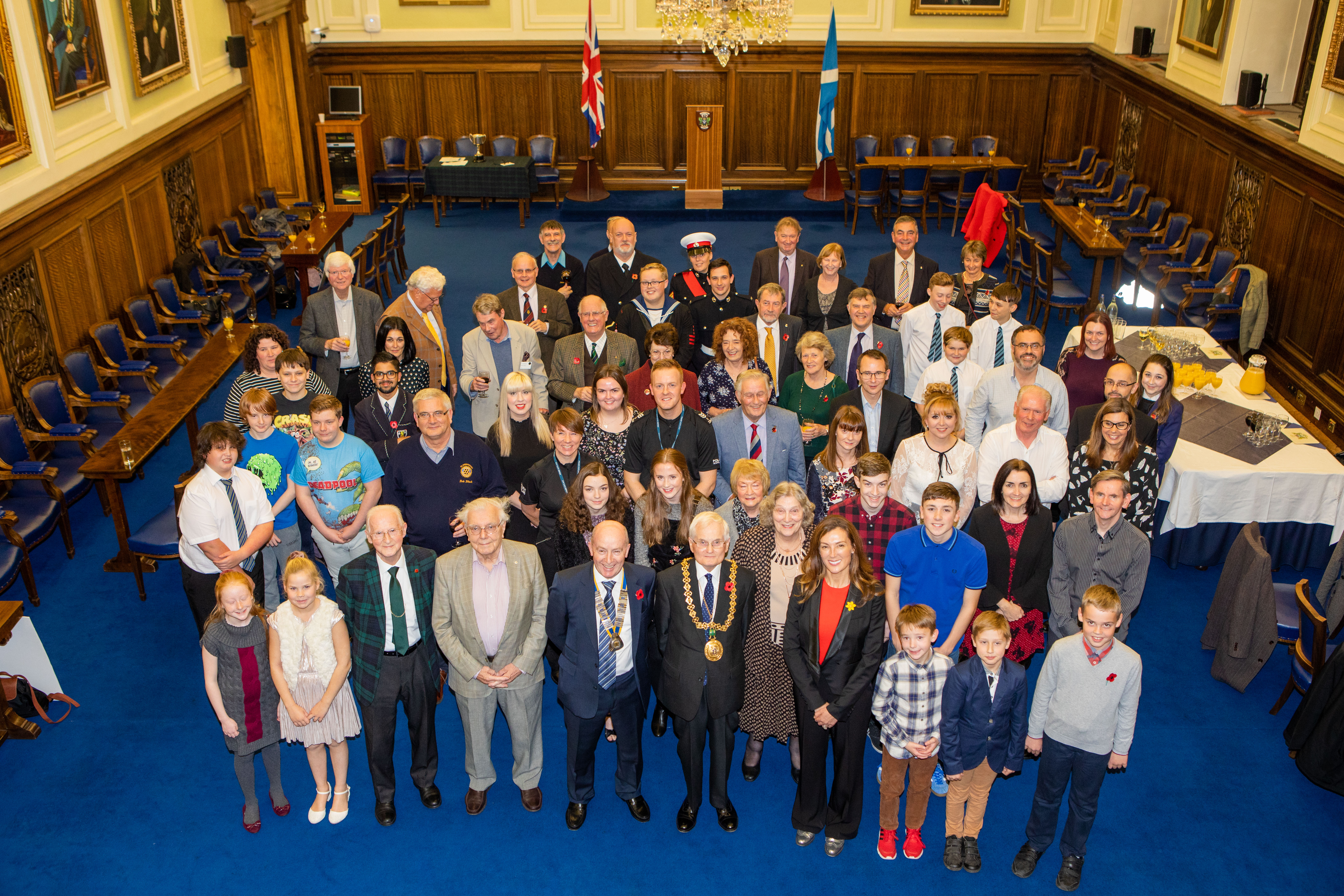 Lord Provost Ian Borthwick alongside members of Claverhouse Rotary Club and Marie Curie Patron Petra McMillan at City Chambers
