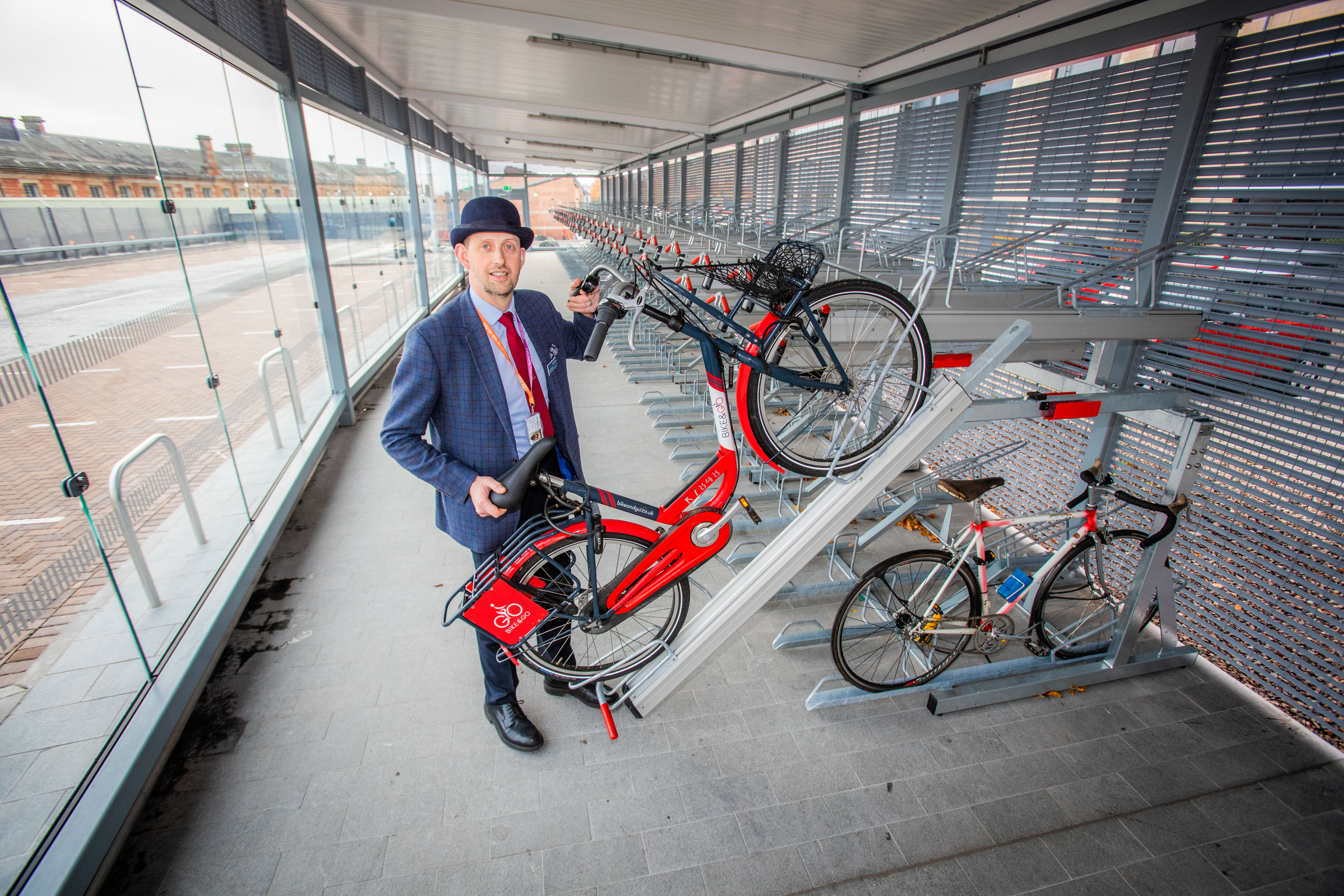 Dundee Railway Stations Cycle Hanger (Bike Park) officially opened today. Picture shows Steve Ewen (Scotrail Area Manager) in the cycle hanger. Dundee Train (Railway) Station, City Centre, Dundee. Monday 5th November 2018 Pic Credit - Steve MacDougall / DCT Media