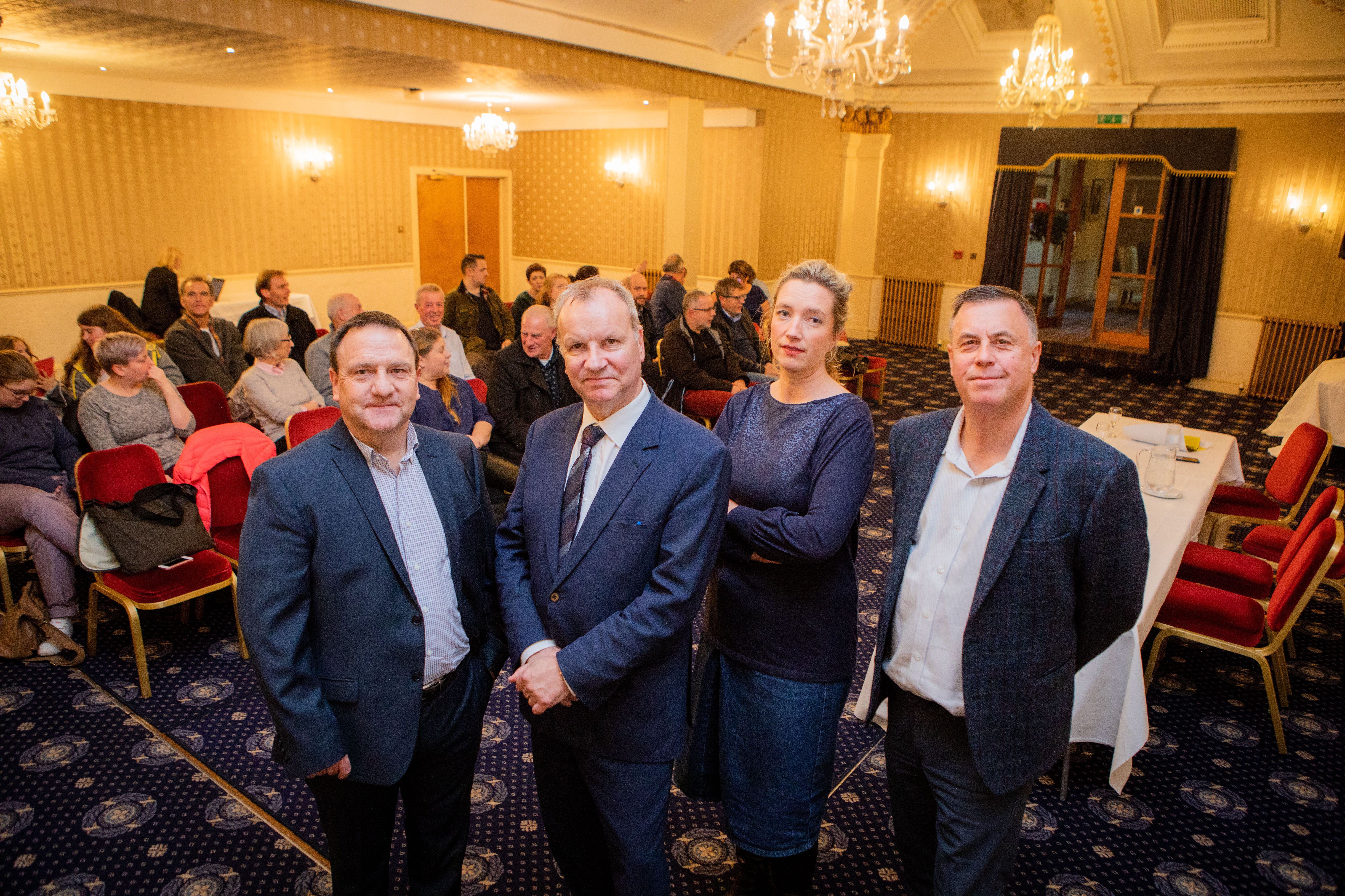 Speakers at a Save our Schools meeting, from left: Andy Charlton, chairman of Pitlochry High School parent council, Pete Wishart, Perth and North Perthshire MP, Anna Brocklehurst, chairwoman of Grandtully Primary School parent council and Councillor John Rebbeck.