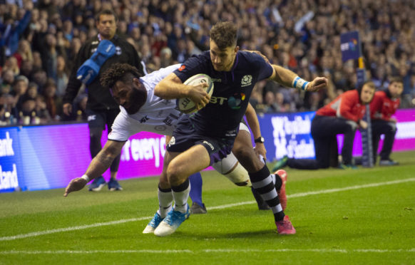 Scotland's Tommy Seymour goes in for his third try against Fiji.