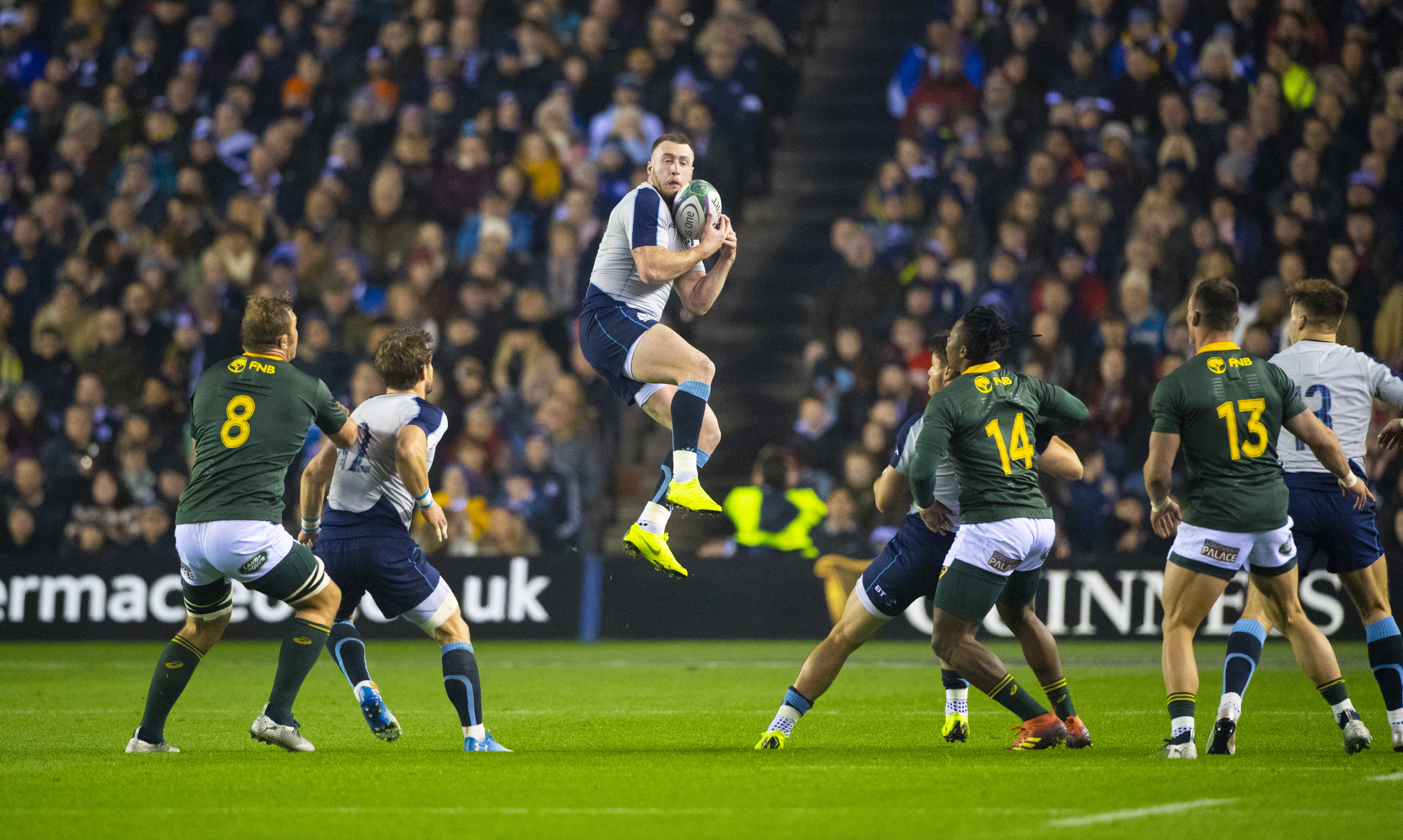 Stuart Hogg take a high ball during Saturday's game against the Springboks.