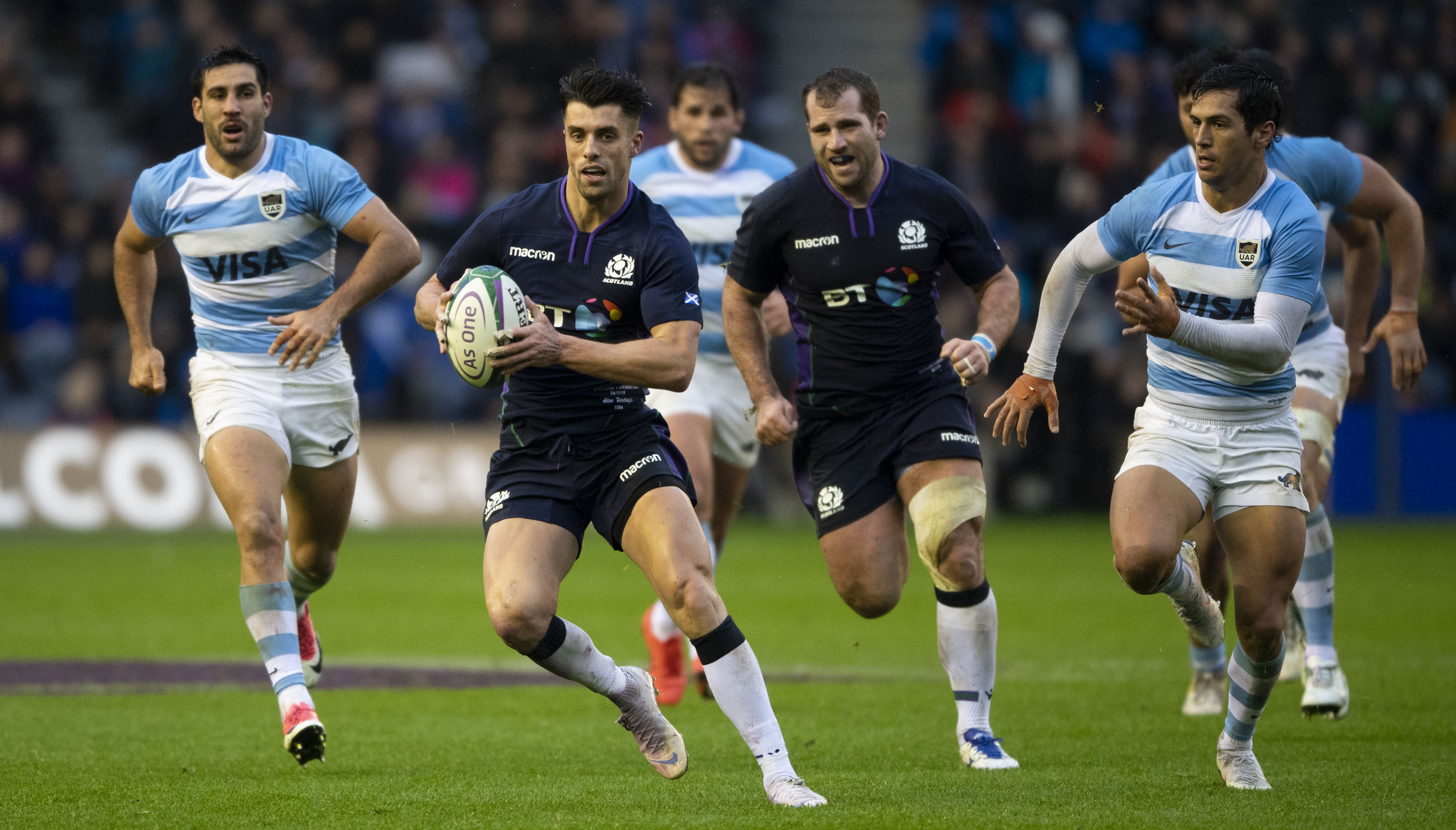 Adam Hastings ;eafdfs the charge for Scotland against Argentina.