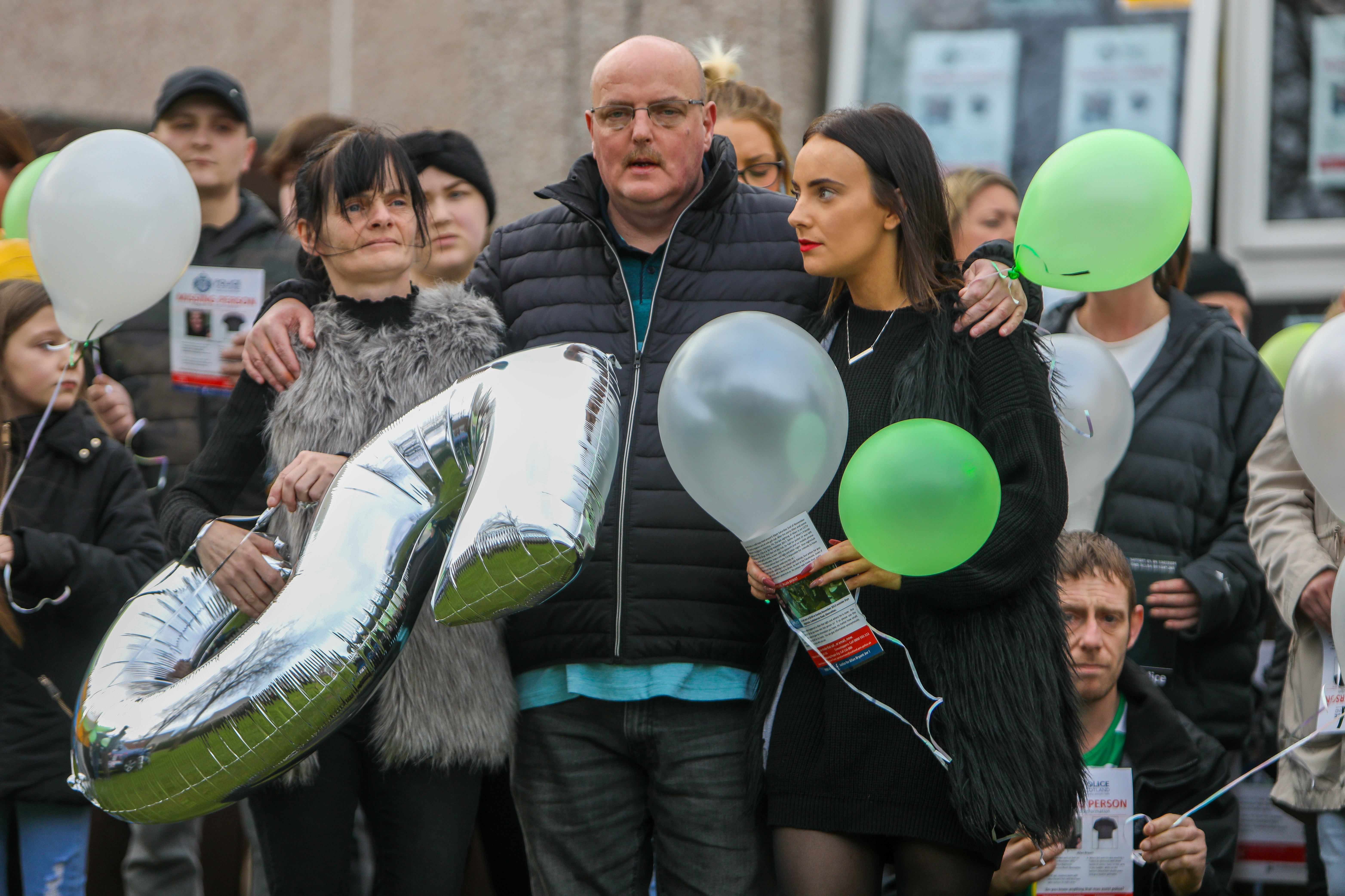Allan Bryant's father Allan, mother Marie and sister Amy released balloons in his name