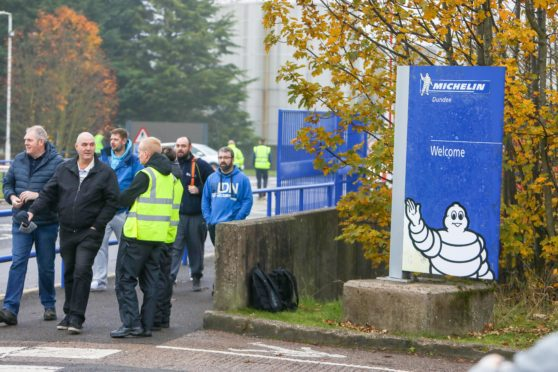Staff leave Michelin Dundee after the closure announcement earlier this month.