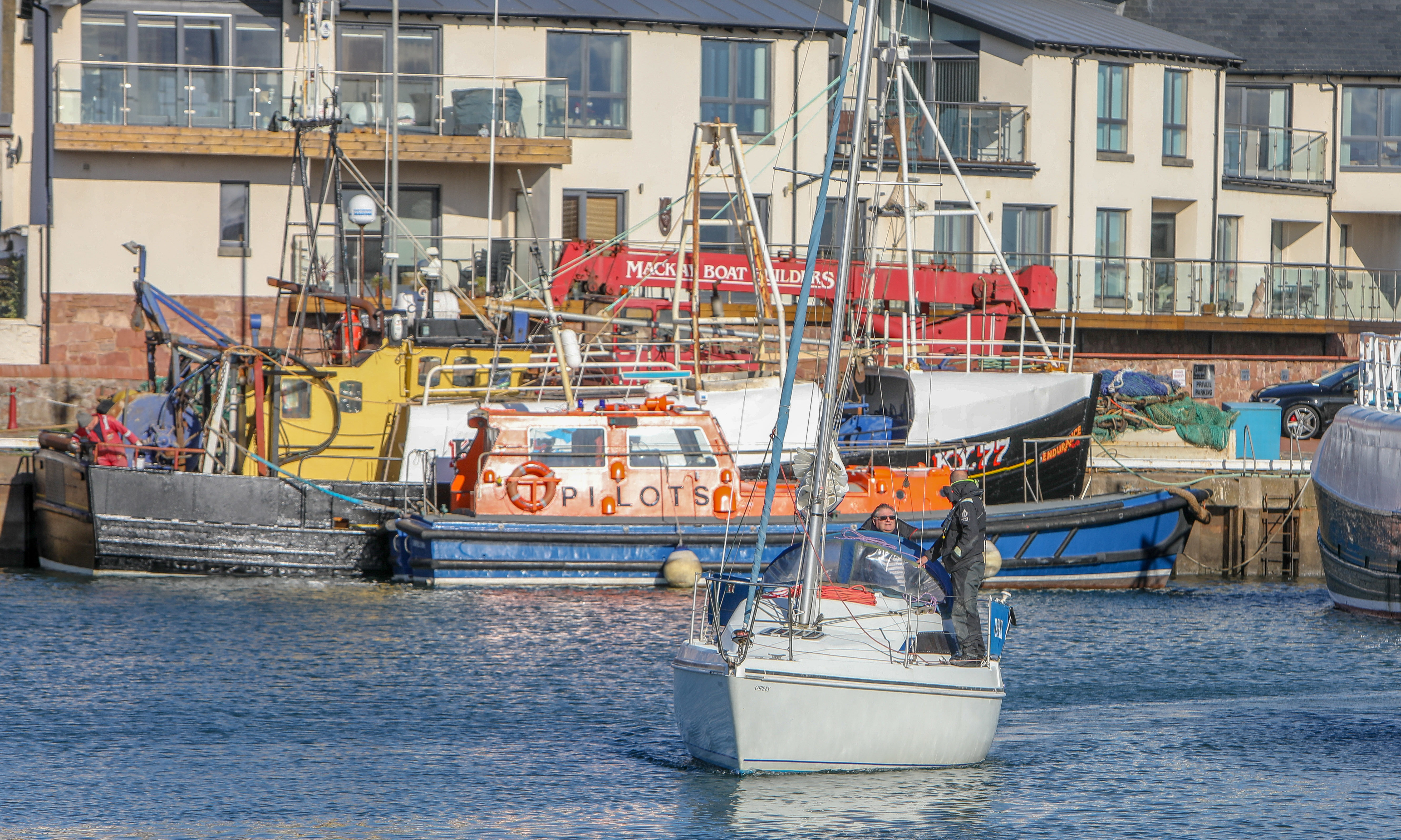 The stolen boat returning to Arbroath marina.