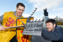 David Weinczok (left)  and Neil Robertson (with the clapperboard) at The Battle of Bannockburn