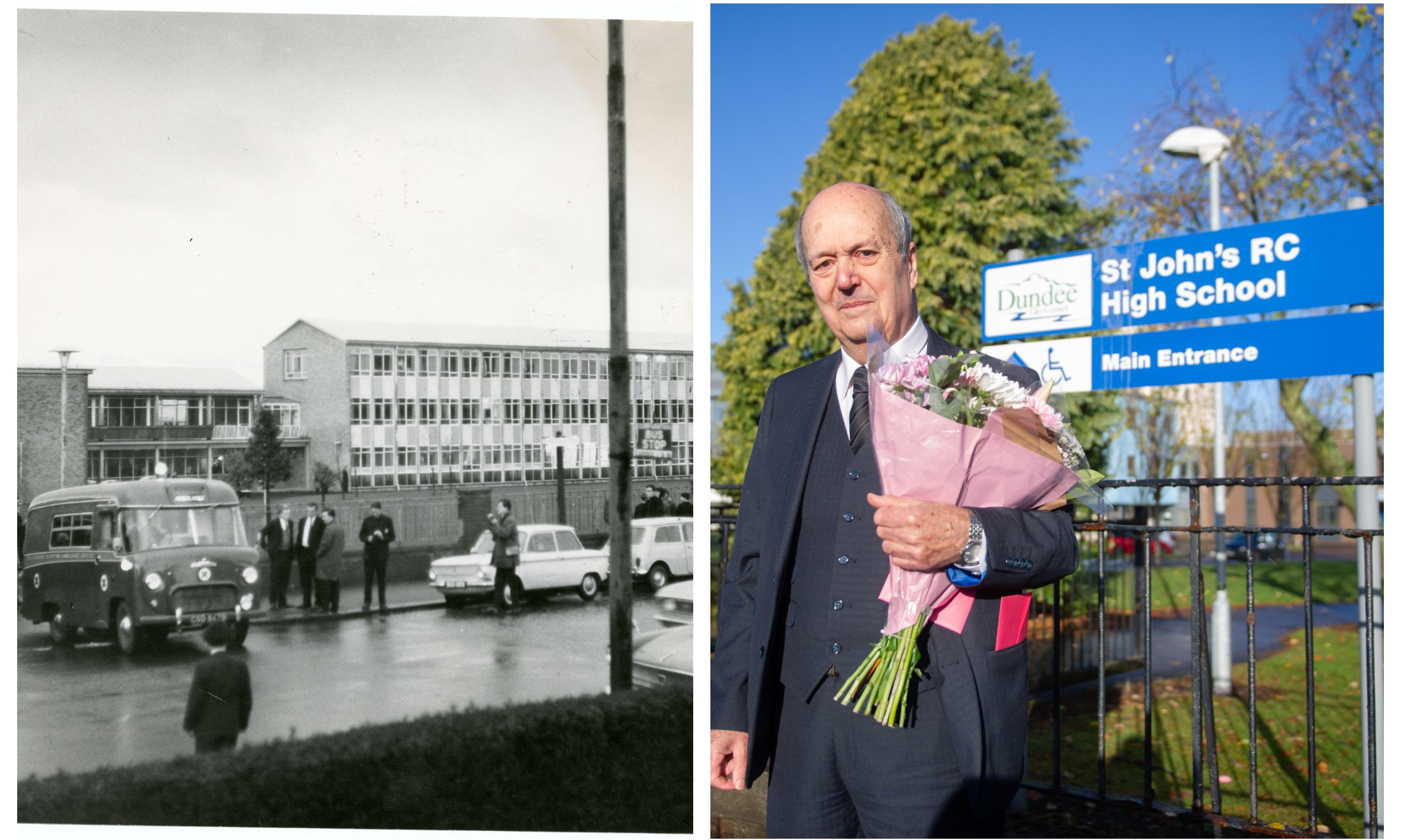Right: Mike Mulford lays flowers at St John's. Left: The scene at the school 51 years ago.