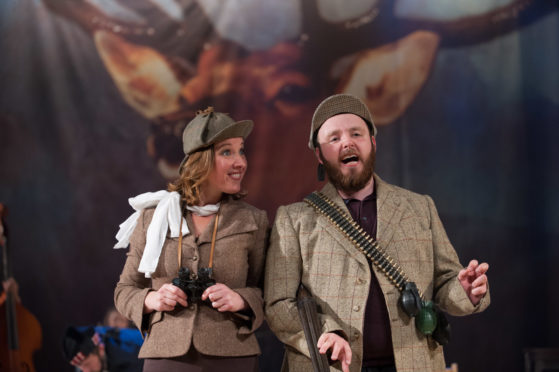 Emily Winter and Stephen Bangs in a previous performance of The Cheviot, the Stag and the Black, Black Oil