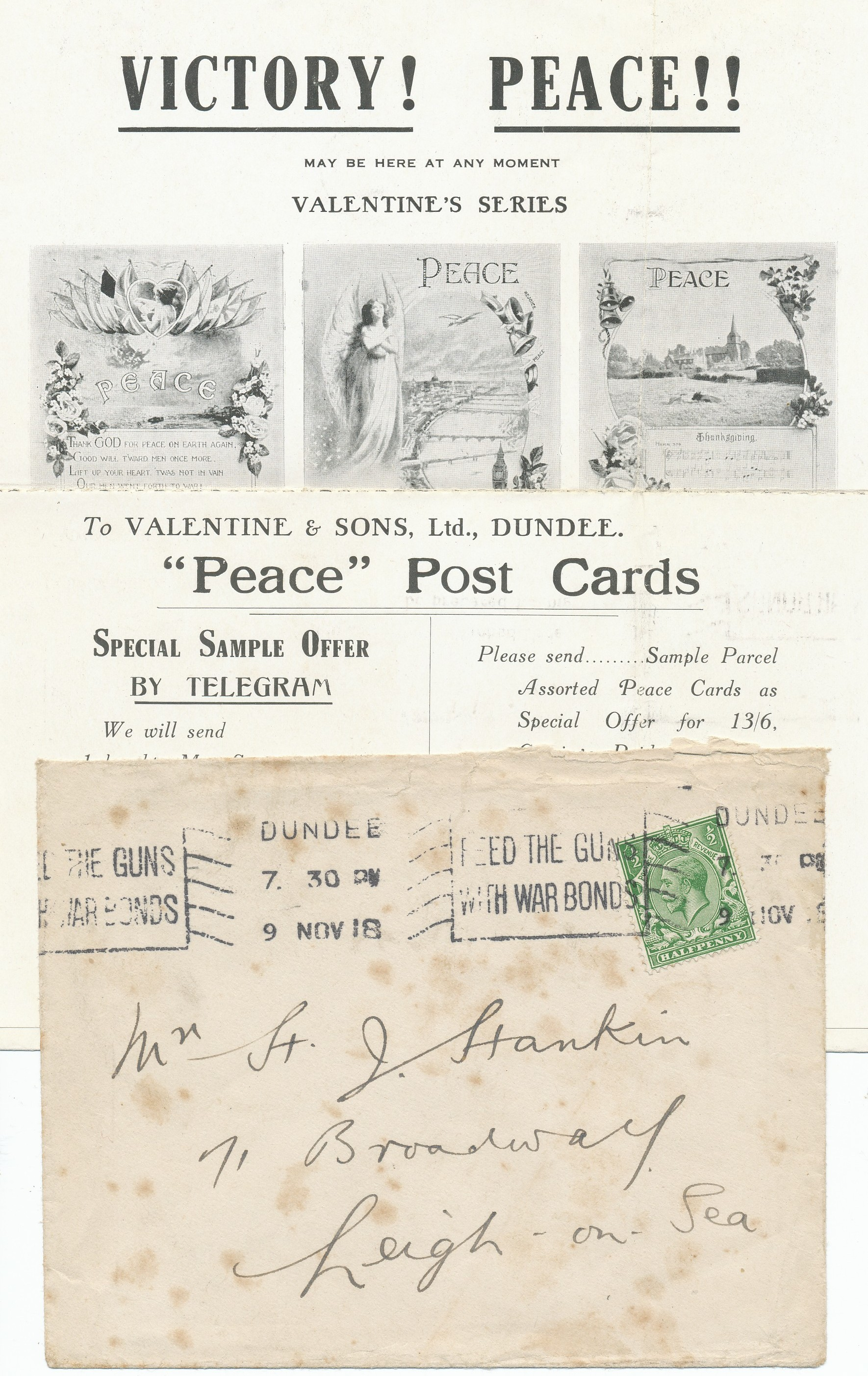 Valentine's peace postcards from 1918.