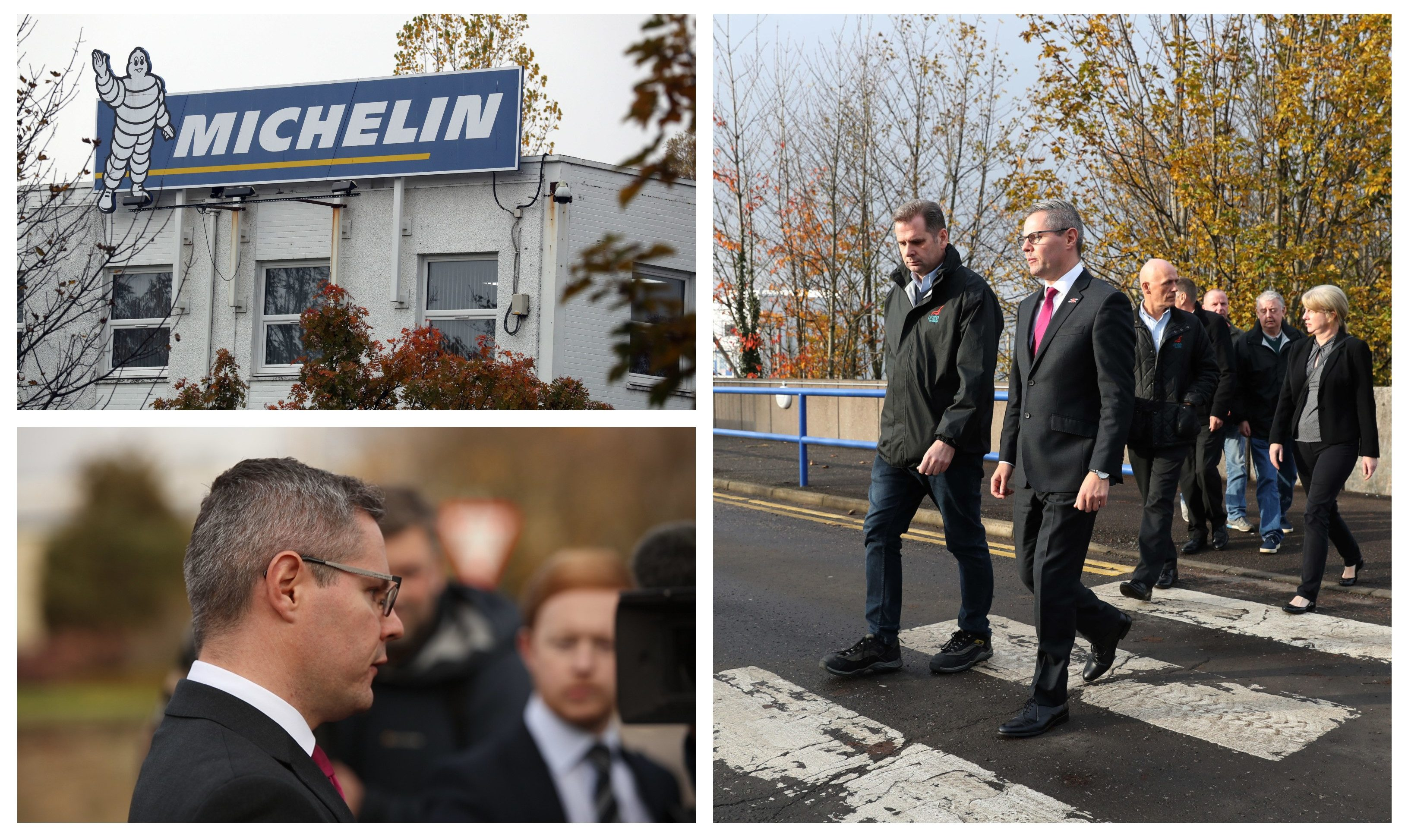 Derek Mackay at the Michelin factory in Dundee.