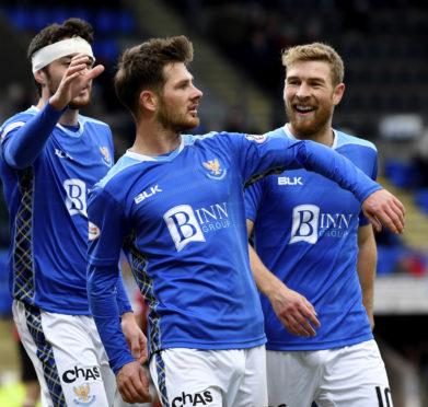 Matty Kennedy celebrates his goal against St Mirren.