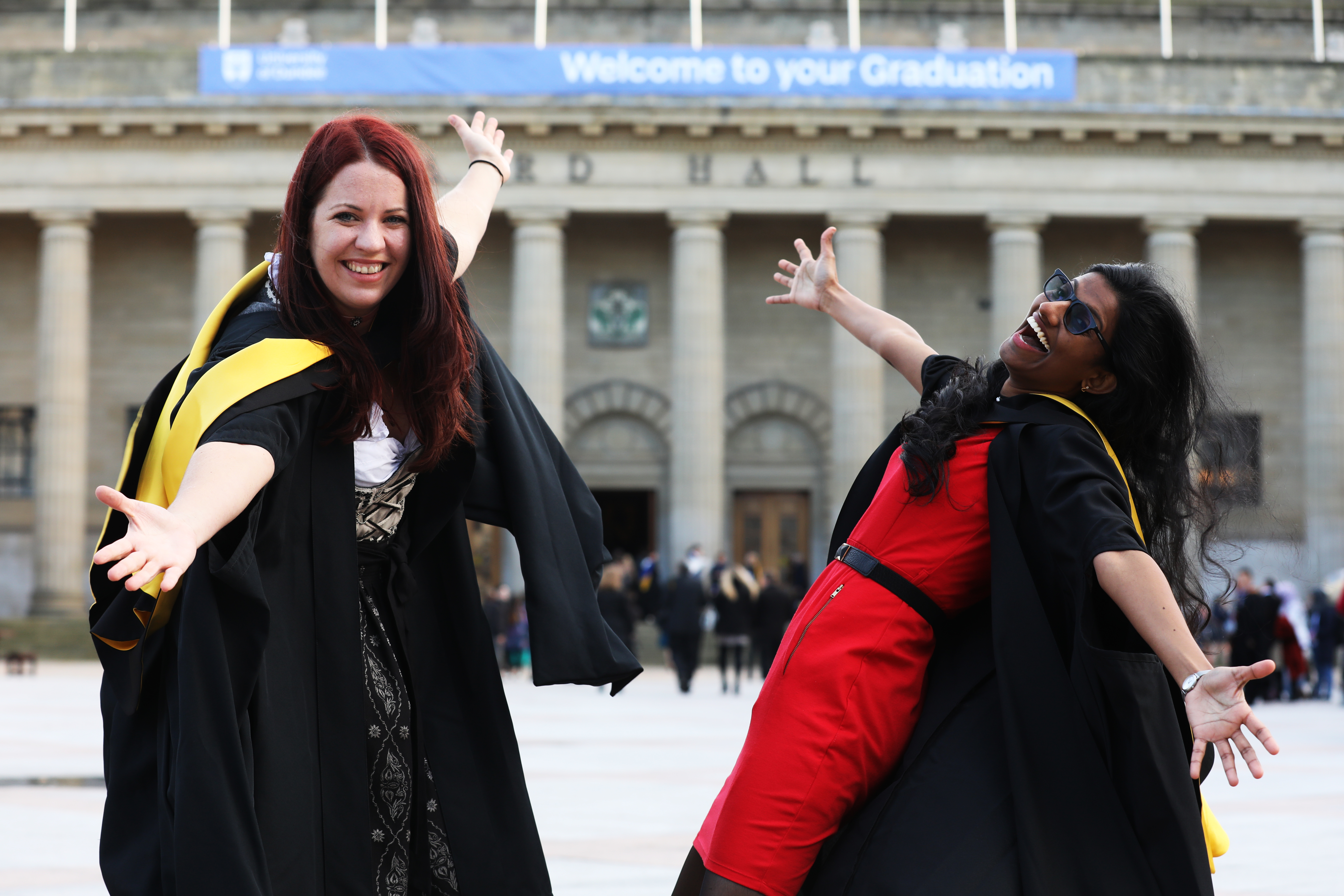 Birgit Mischak, 29 graduating with a Masters in International Buisness and Raveena Meembat, 25, graduates with a Masters in Forensics, Anthropologie and Archaeology.
