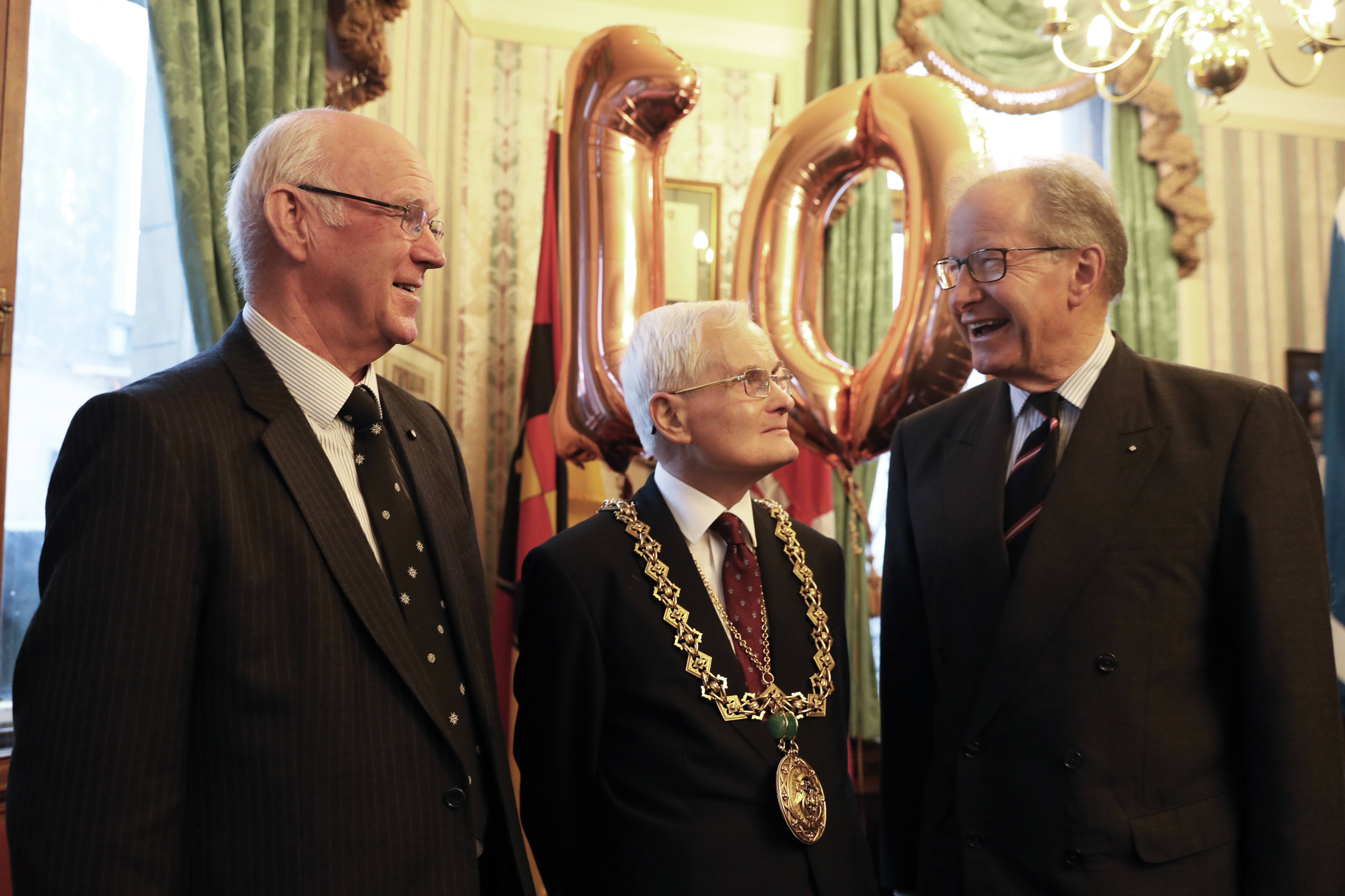 Bill Spence, founder and first volunteer of the service, Lord Provost Ian Borthwick and Major General Mark Strudwick, Prior of St John Scotland at the 10th anniversary celebration.