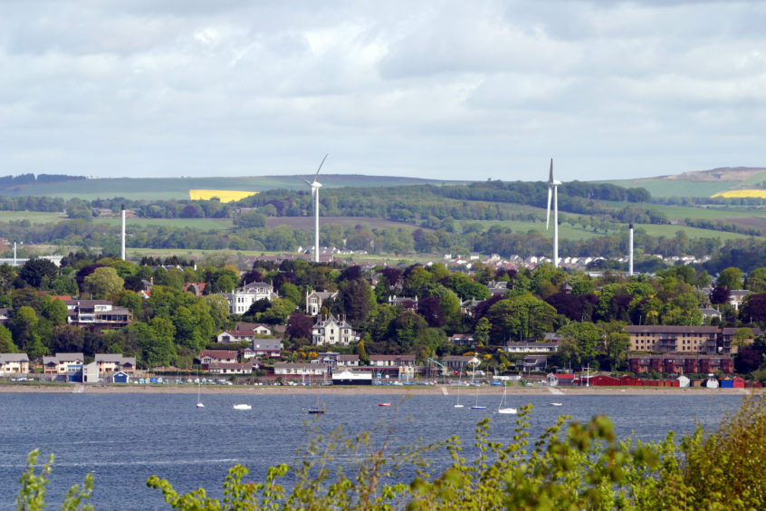 The wind turbines at the Michelin factory, Dundee, pictured from Tayport, in 2006.