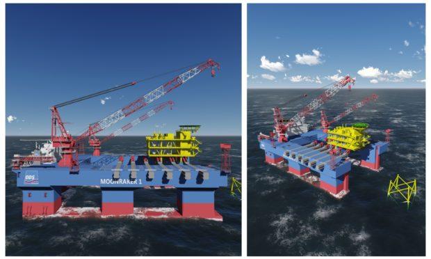 The Moonraker heavy lift vessel on water.