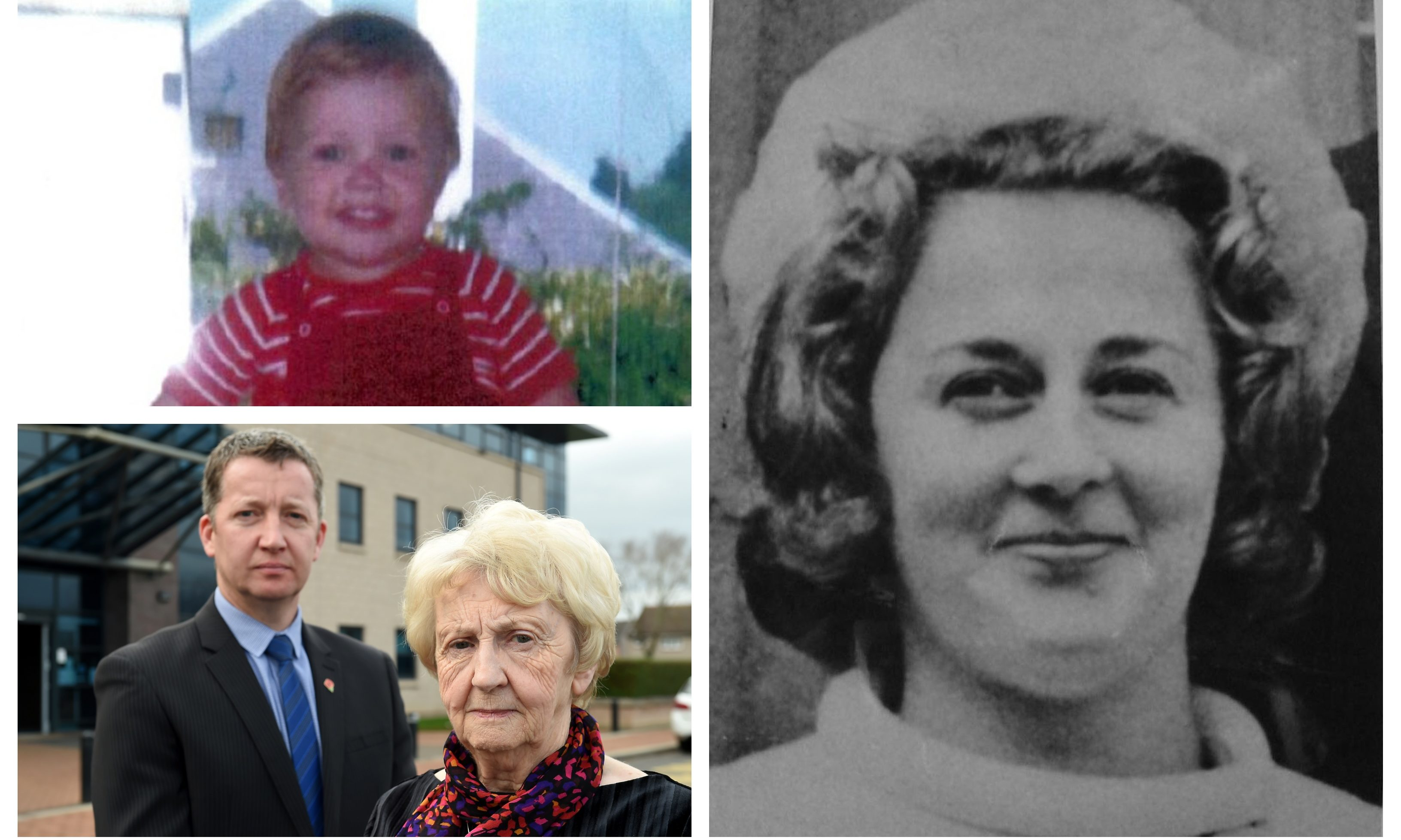 Right: Renee MacRae. Top left: Detective Inspector Brian Geddes of Police Scotland and Renee's sister Morag Govans.