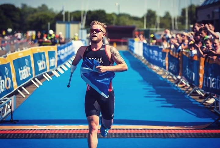 Stefan competing in the triathlon for Great Britain