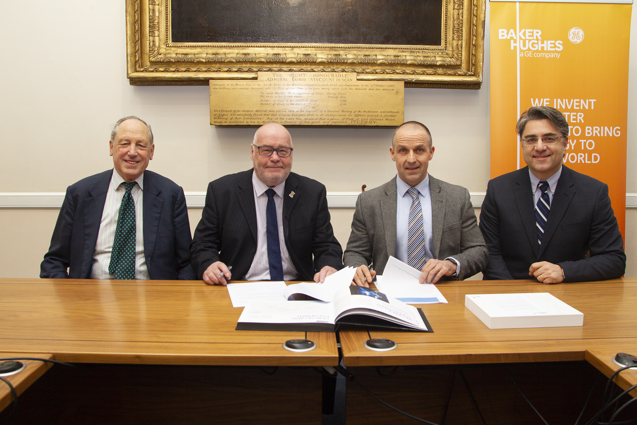 Deputy Leader of Angus Council Angus Macmillan Douglas,  Council leader Councillor David Fairweather, Graham Gillies, Vice President, Subsea Production Systems, BHGE and Lorenzo Romagnoli Global Supply Chain Director at Baker Hughes at the signing of the Memorandum of Understanding