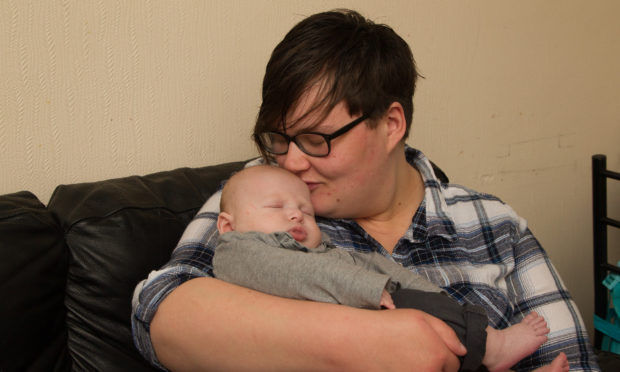 Aimee Young with son Peter.