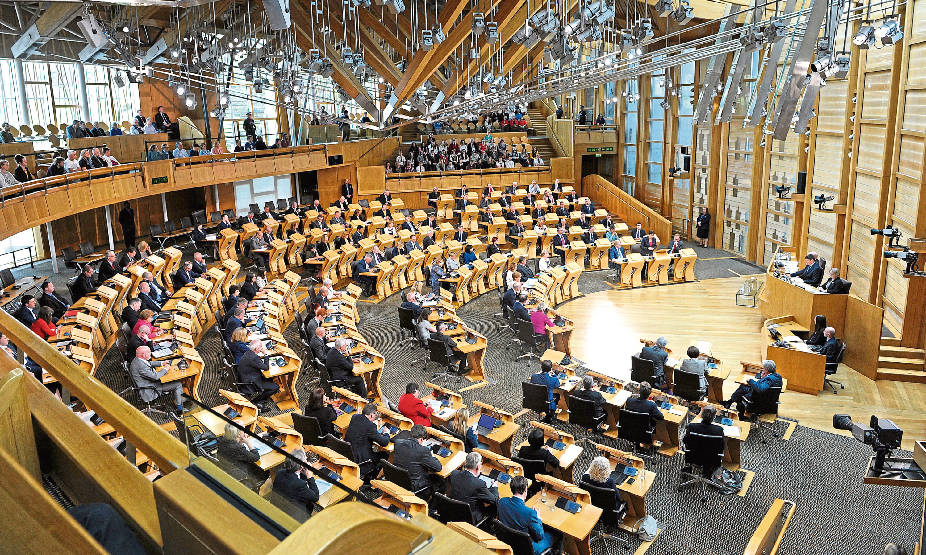 A general view of the Scottish Parliament during a debate on the EU Referendum result
