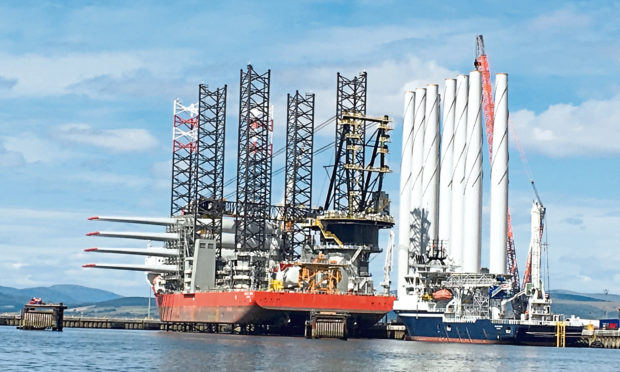 Turbine sections bound for Beatrice at nigg Energy Park earlier this year.