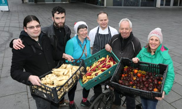 Perth Concert Hall head chef Martin Buchan was on hand to accept deliveries from Ross Nicol, Norrie Morrison,Jean Gordon, Iain Mahon and Sarah Russell, all from Giraffe.