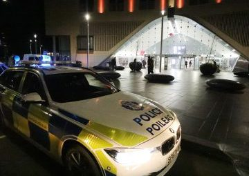 A police car at Dundee station on Friday night.