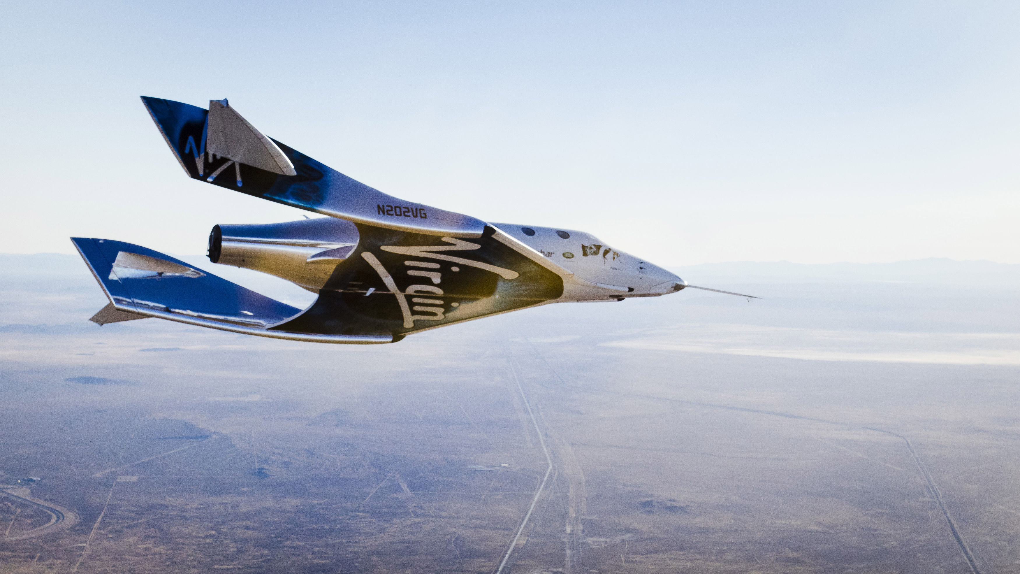 Virgin Spaceship Unity (VSS Unity), undergoing final checks in preparation for a test flight from Mojave, California, to the edge of space.