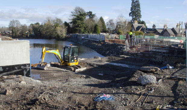 Some of the flood defences construction work.