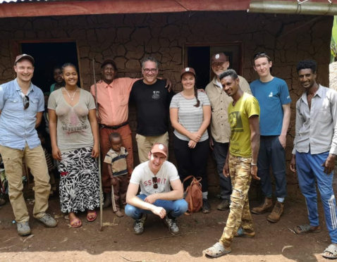Leo Hector (second right) with the coffee tour group and growers in Ethiopia.