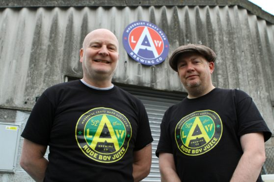 Ally Jefferson, right who will DJ at the Wine Press on Hogmany in aid of Tayside Children with Cancer and Leukemia, and Danny Cullen at Law Brewing Co