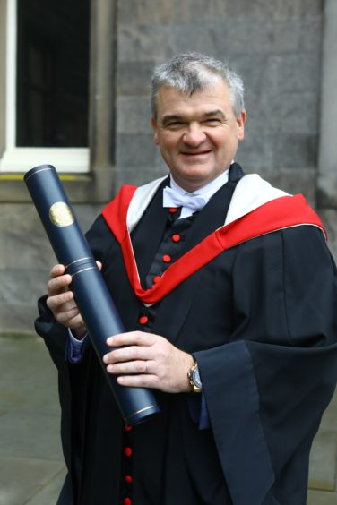 Former Open Champion winner and Honorary Graduate Paul Lawrie, in St. Salvators Quad.