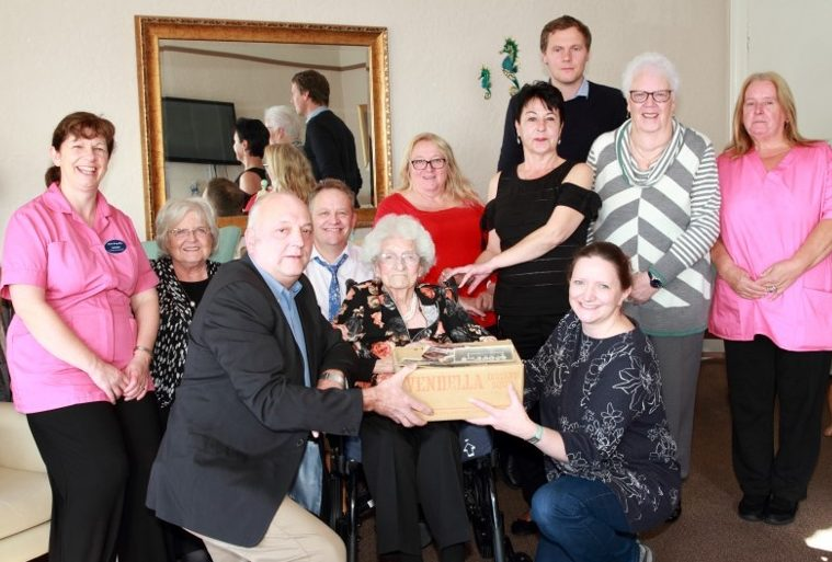 Dr Bill Lynch, Vivian Tait and Leonie Paterson are centre stage with staff at Orchar Nursing Home in Broughty Ferry