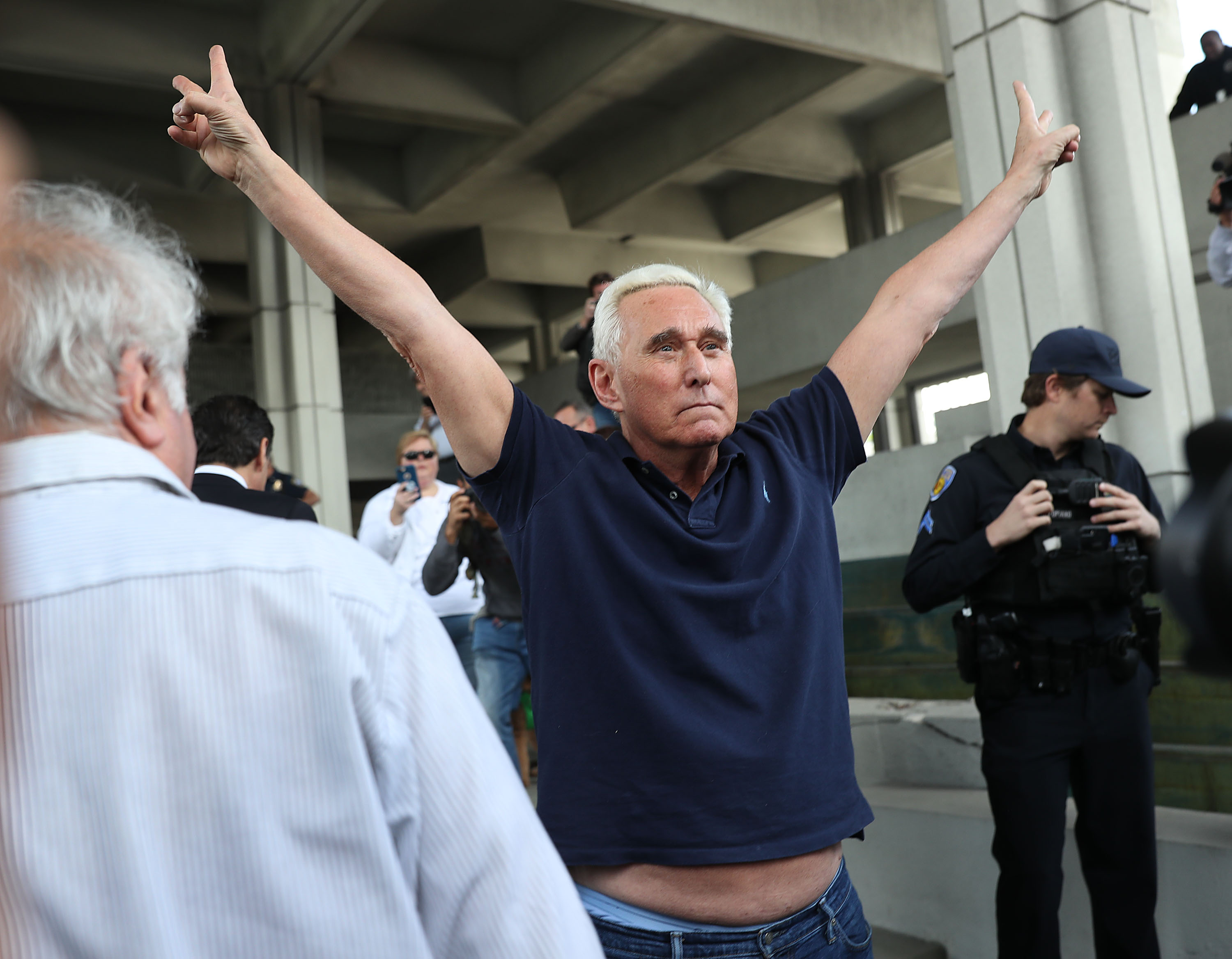 Leaving the Federal Courthouse last week after being released on bail.  A crowdfunding website called ' Who framed Roger Stone ?' seeks to raise $2 million dollars to defend the charges against Russian collusion.