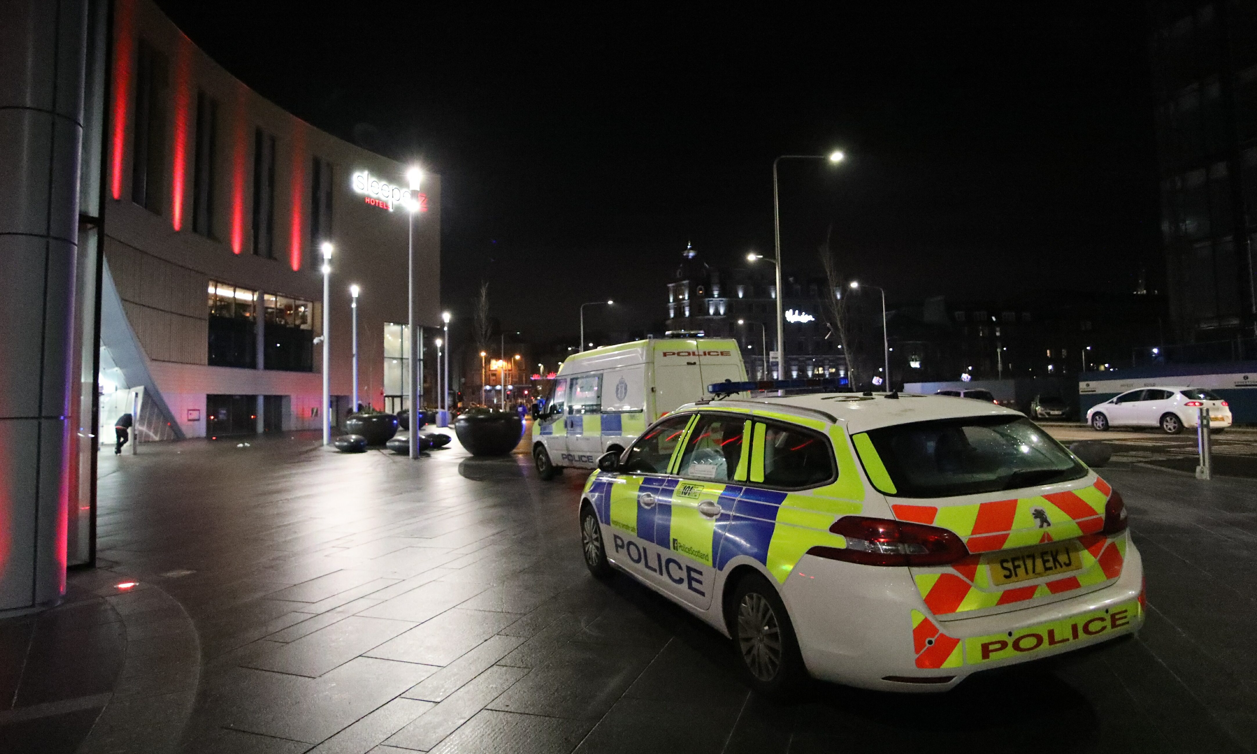 Police outside Dundee Rail Station on Friday night.