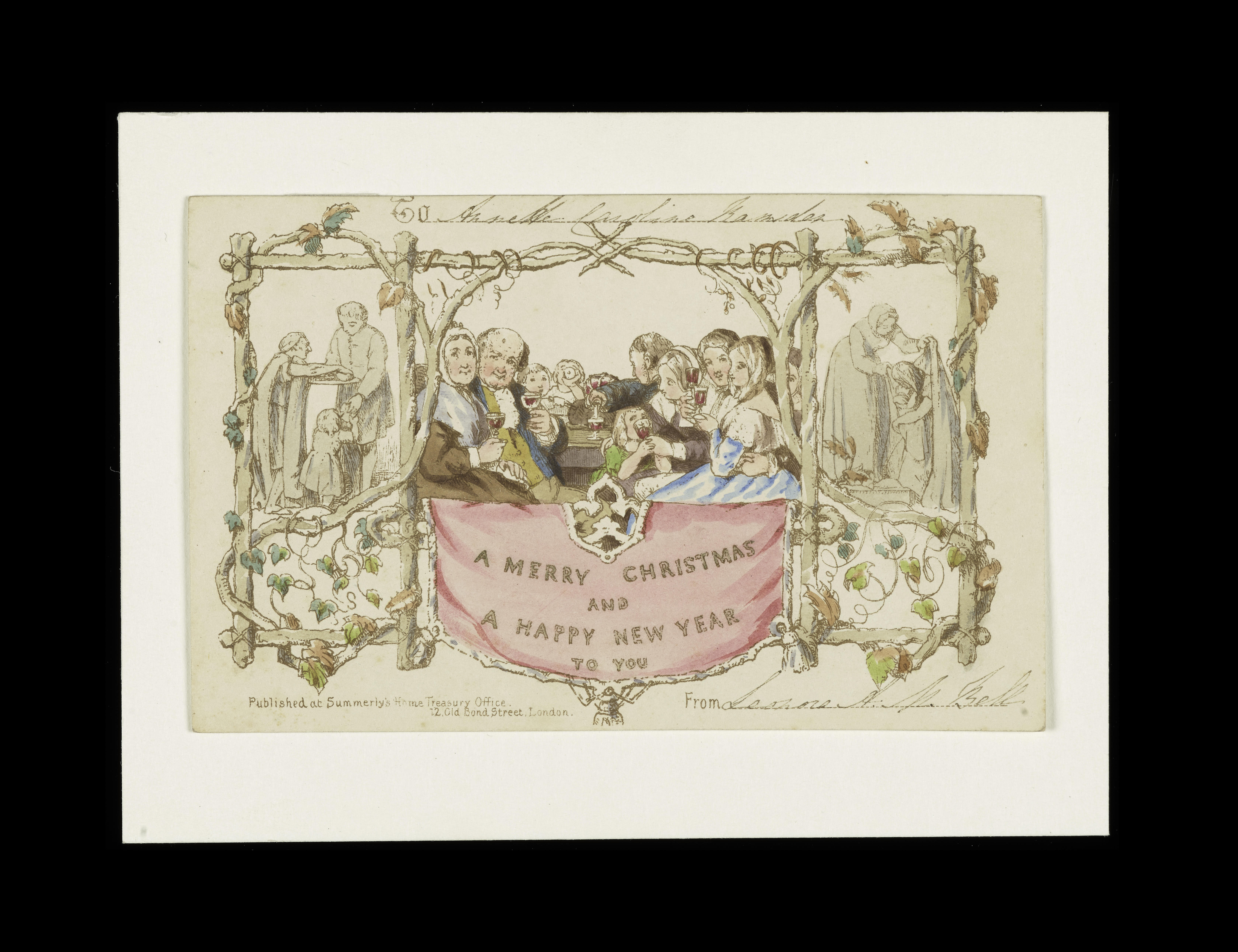 The first commercial Christmas card introduced by Sir Henry Cole in 1843.