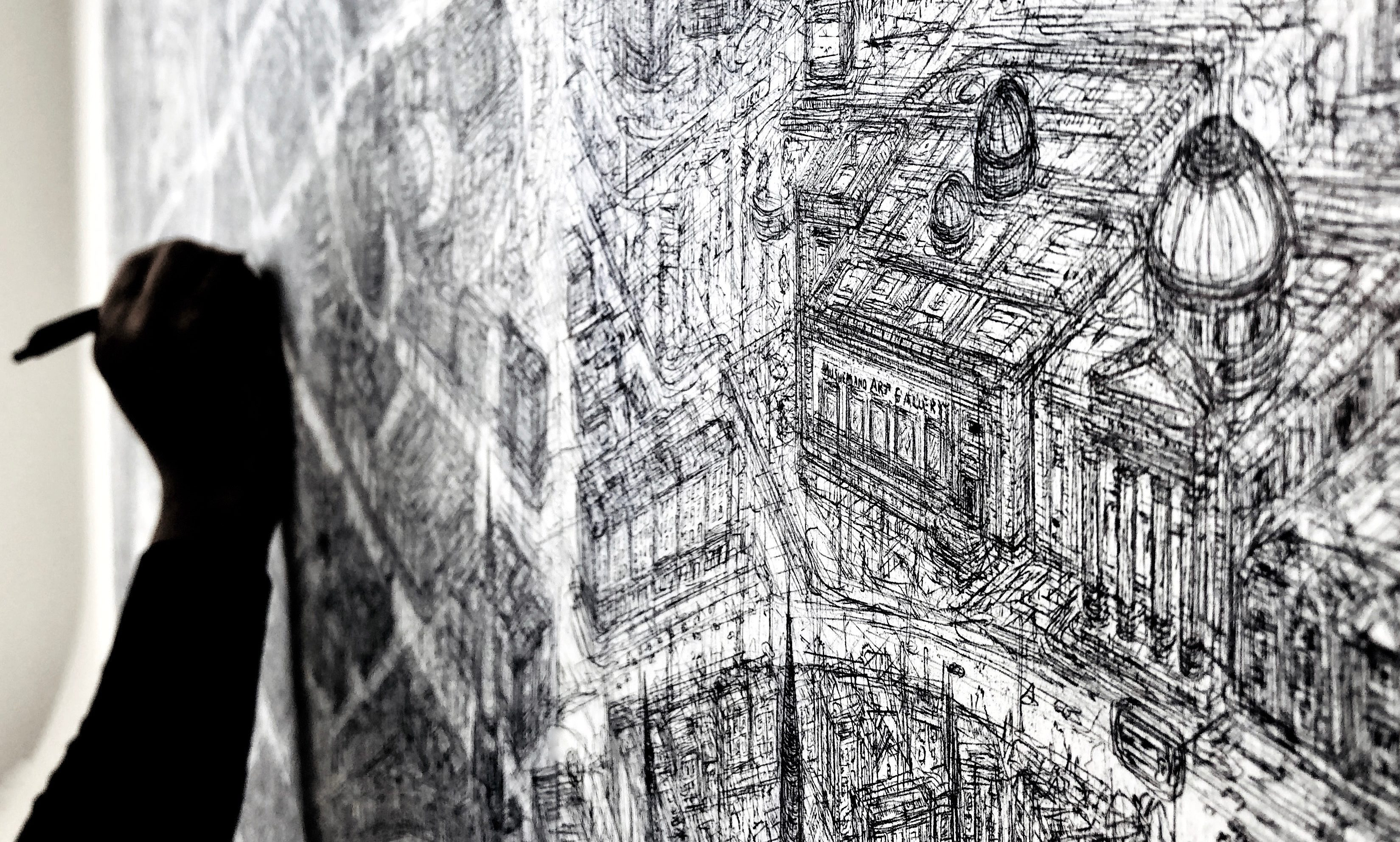 Part of the highly detailed Perth sketch, showing Perth Museum and Art Gallery where the artwork will get its first public outing.