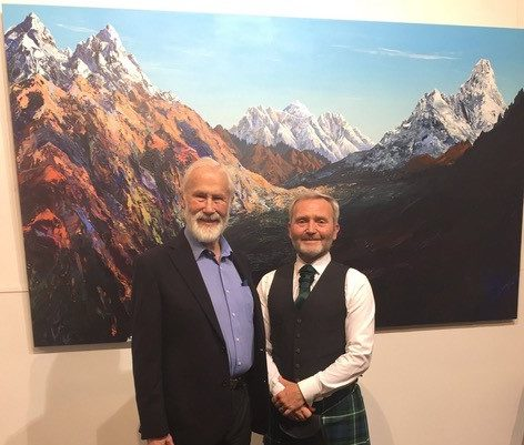 Sir Chris Bonington and James Lamb at the Nepal fundraising exhibition in Nepal.