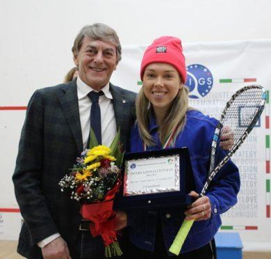 Lisa Aitken with Italian Squash President Piero Bartoletti after her win on Sunday.
