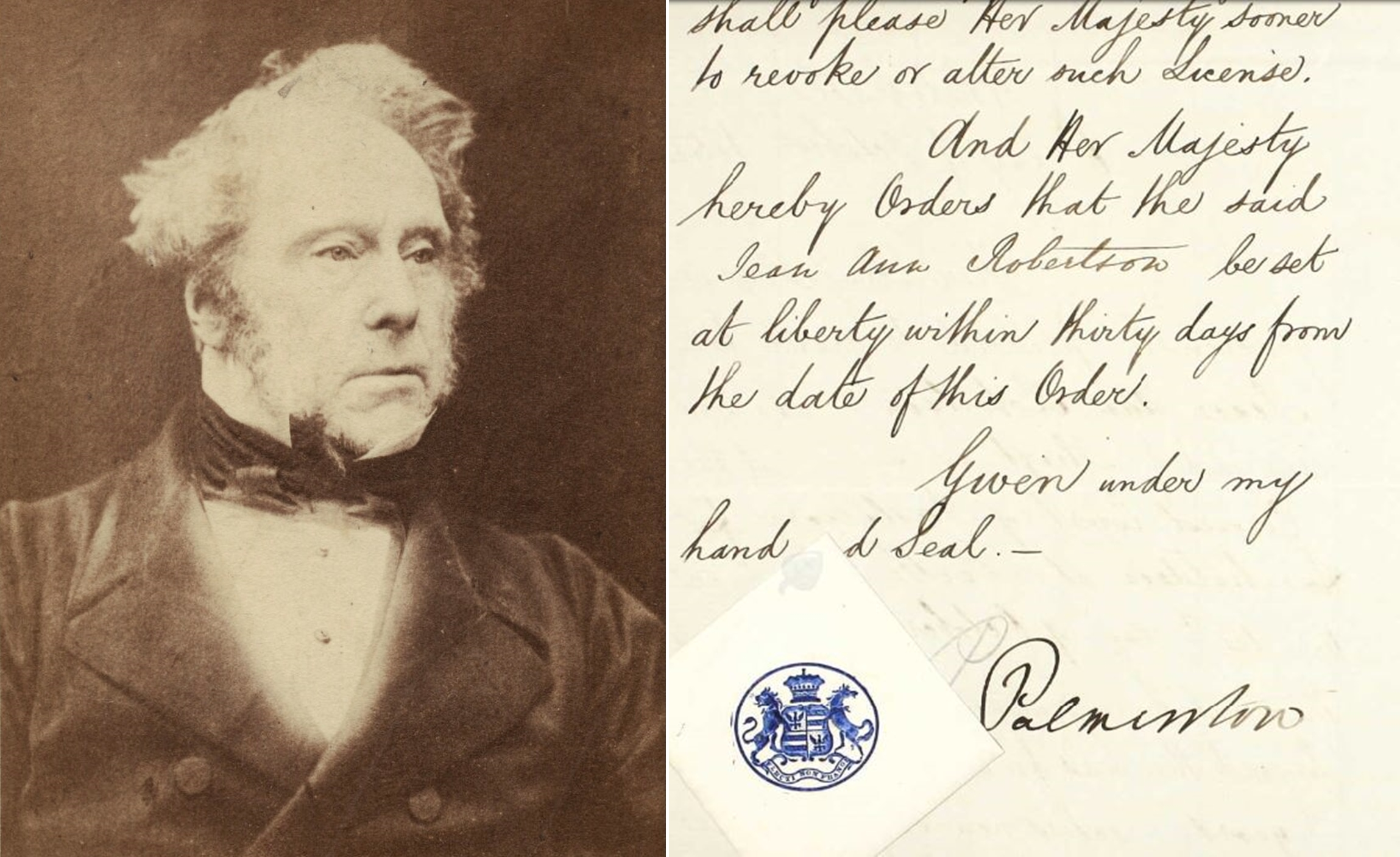 Lord Palmerston, who penned Jean Ann Robertson's parole licence in 1854.